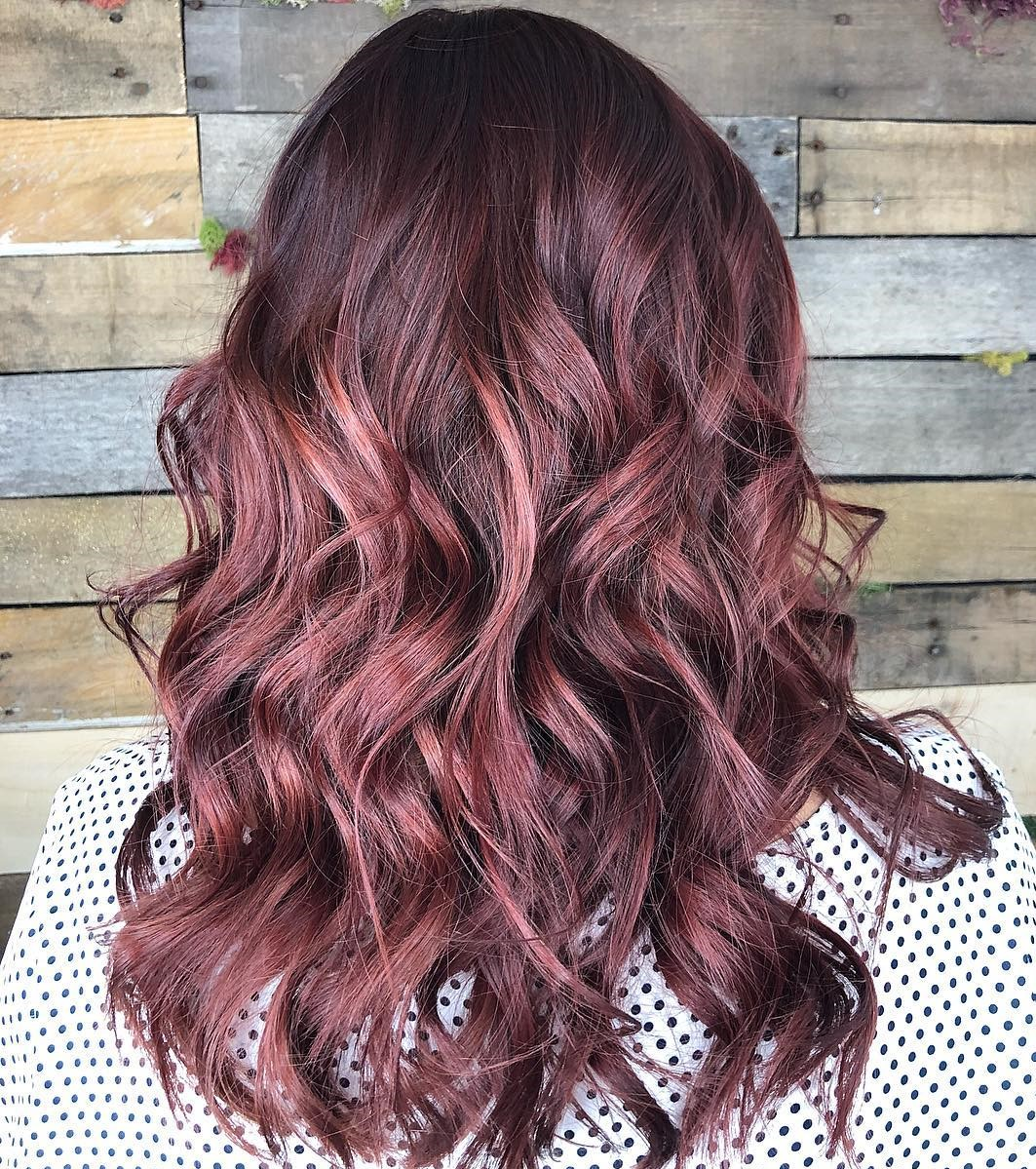 Long Wavy Burgundy Wine Hairstyle