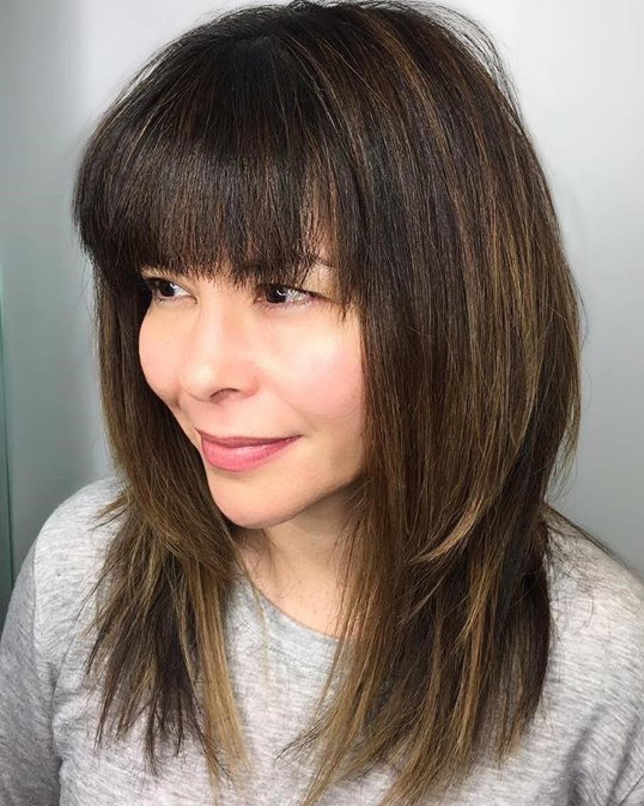 Mocha Brown Medium Shaggy Cut with Bangs