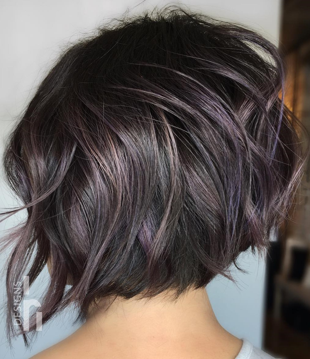 Short Wavy Layered Dark Purple Bob