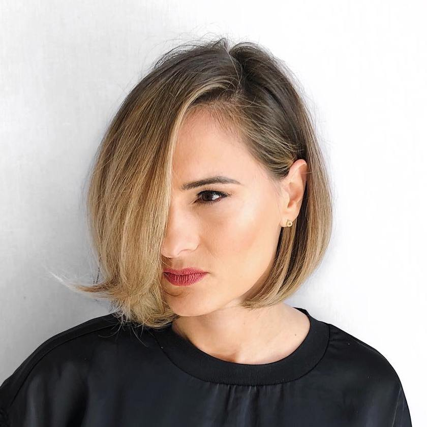 Elegant Bob with Balayage for Square Face