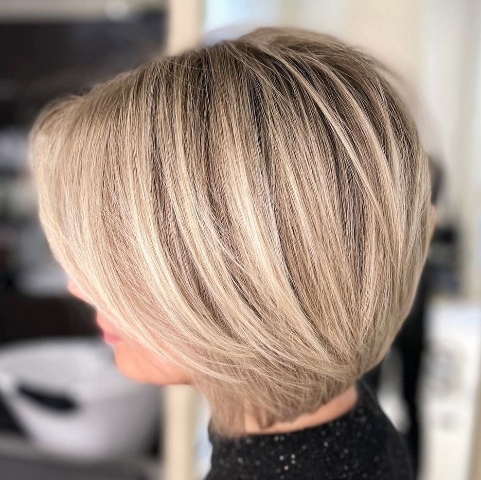 Short Bob Hairstyle with Blonde Balayage