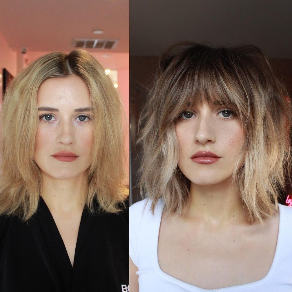 Chopped Bob with Bangs and Waves