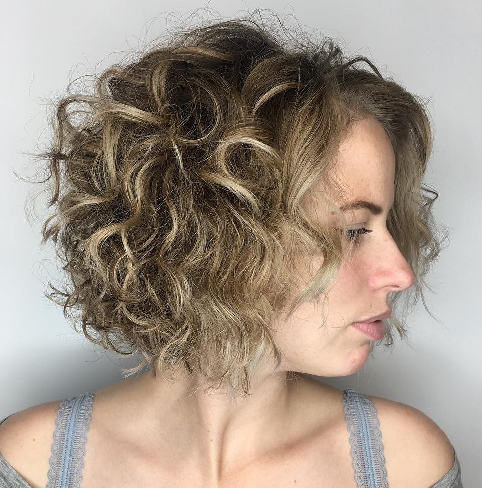 Curly Bob with Blonde Balayage