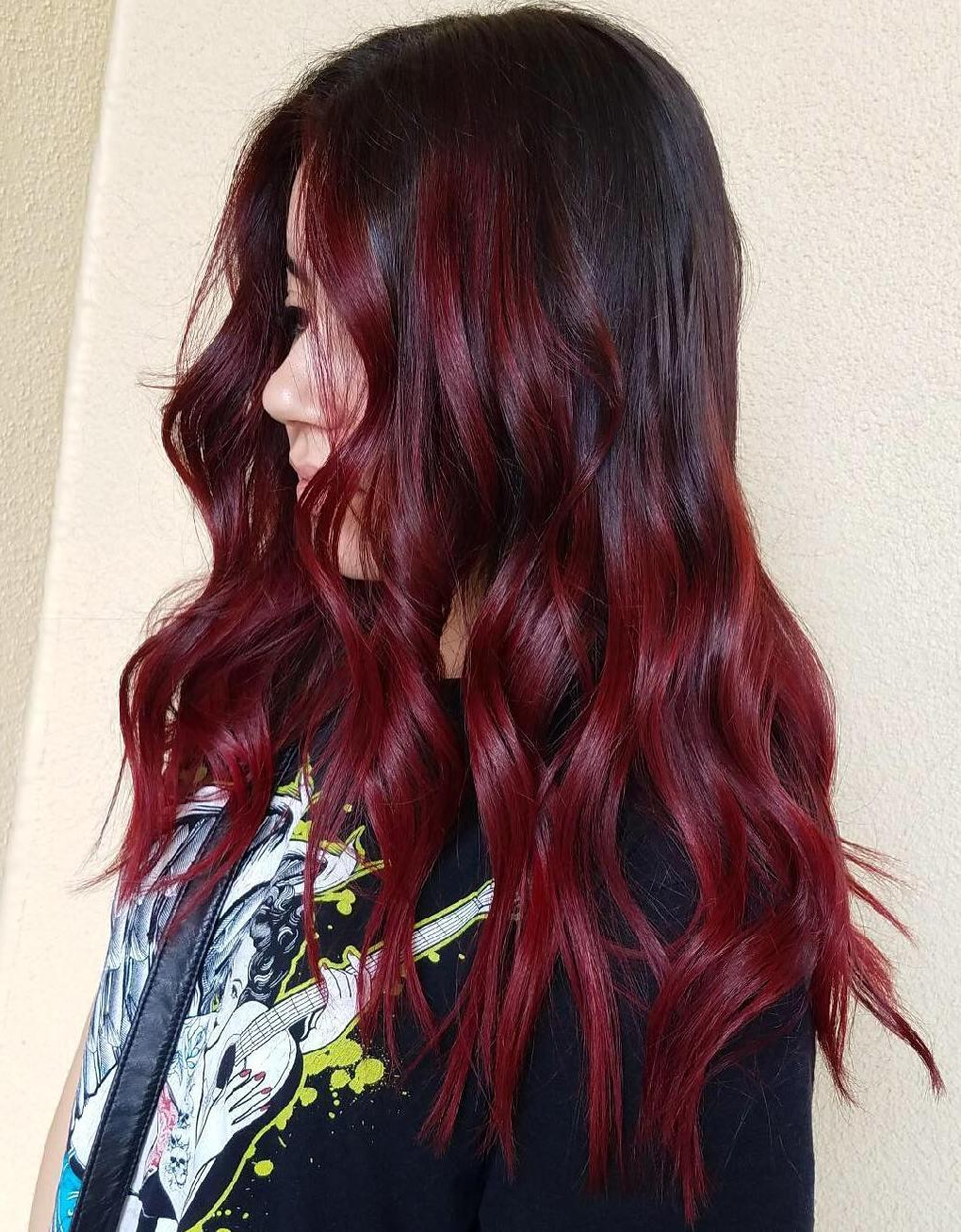Dark Hair with Intense Burgundy Balayage