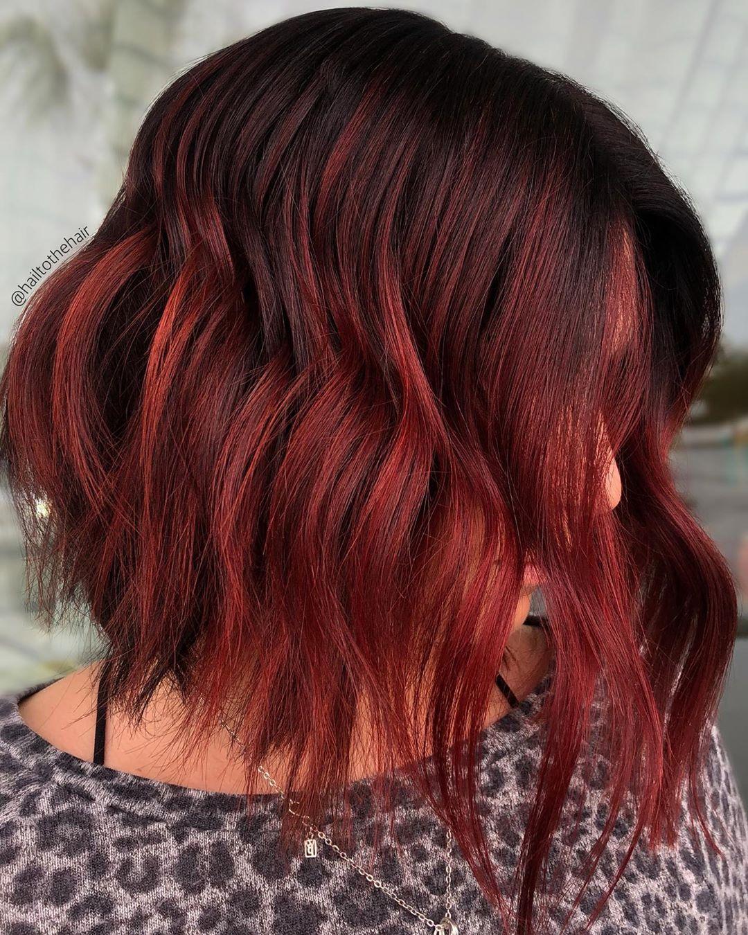 Shoulder Length Red Maroon Hair