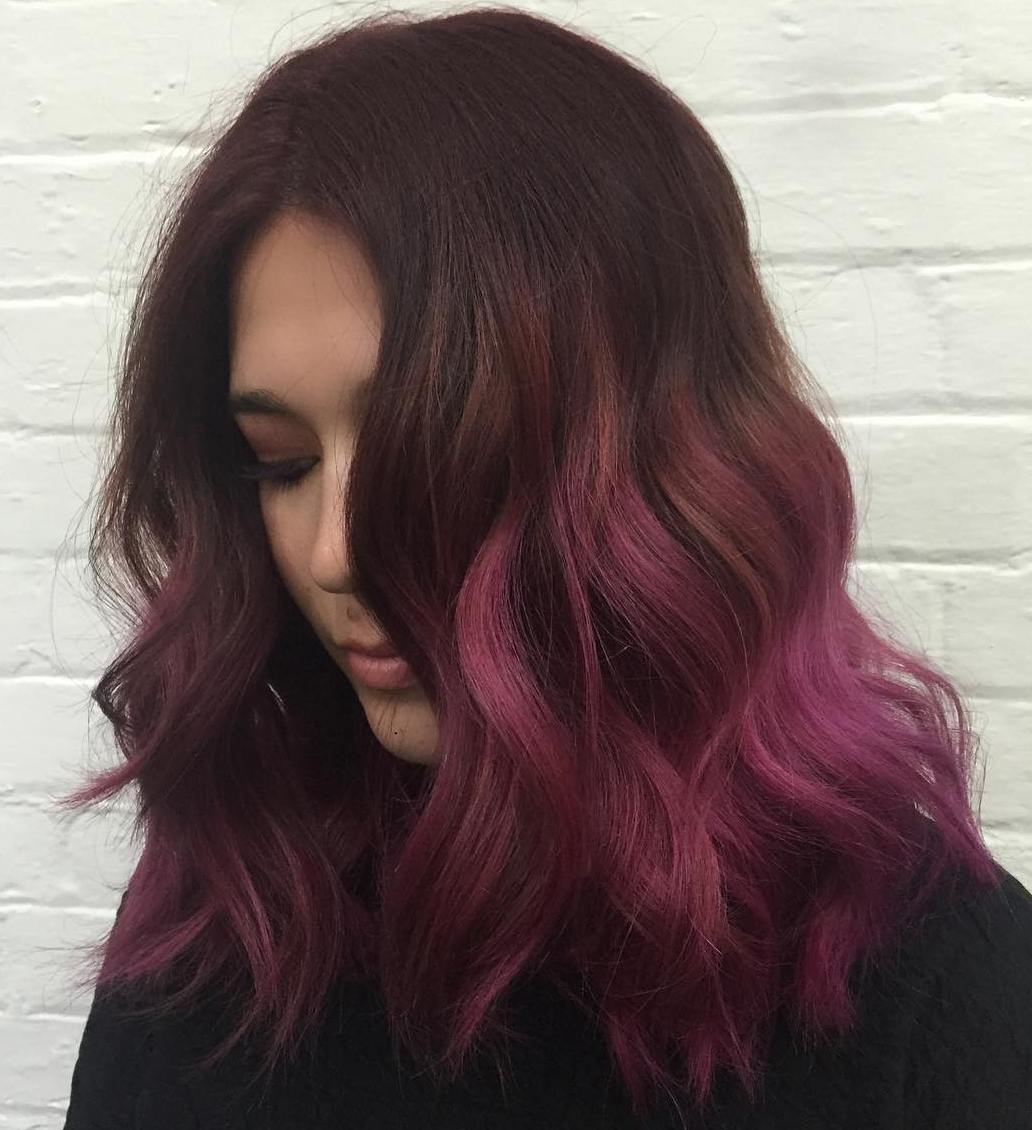 Mid-Length Hair with Burgundy Purple Ombre