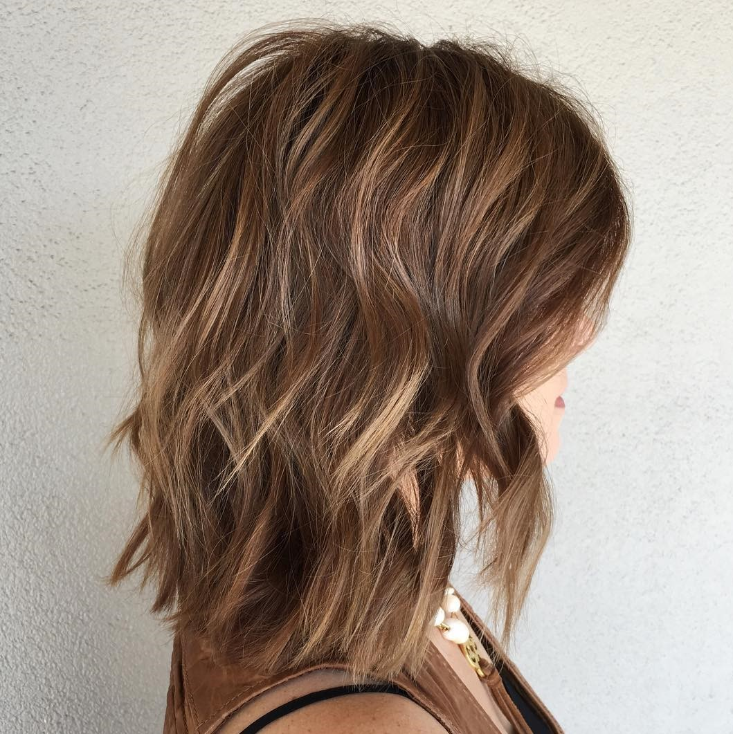 Medium Wavy Light Brown Haircut