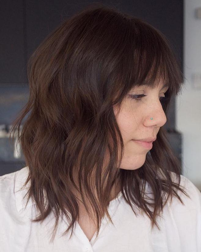 Shoulder-Length Shag with Bangs for Thin Hair