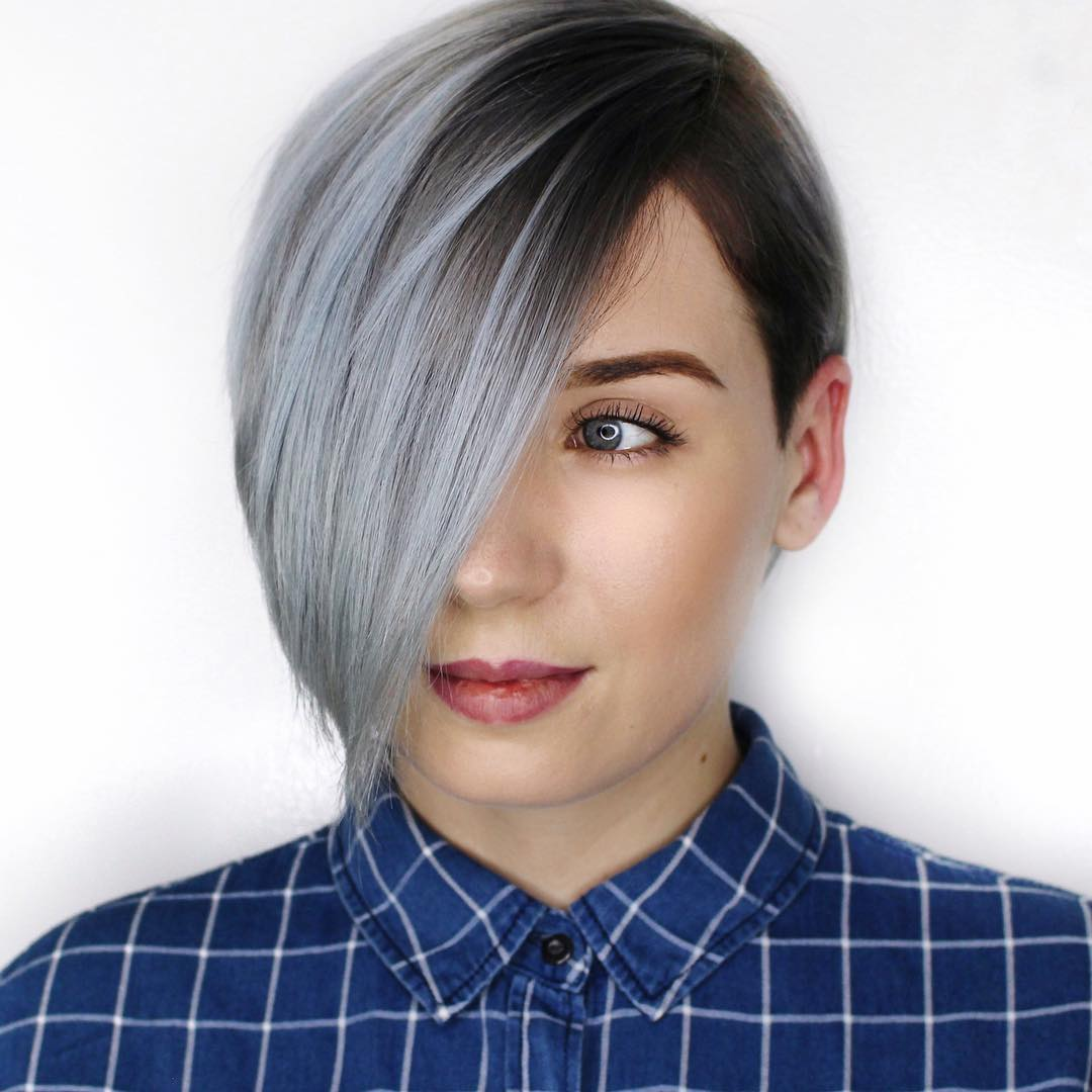 Razored Gray Pixie with Long Bangs