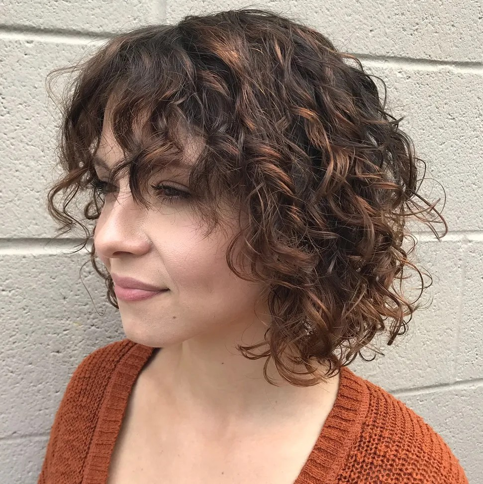 Messy Curly Bob with Bangs