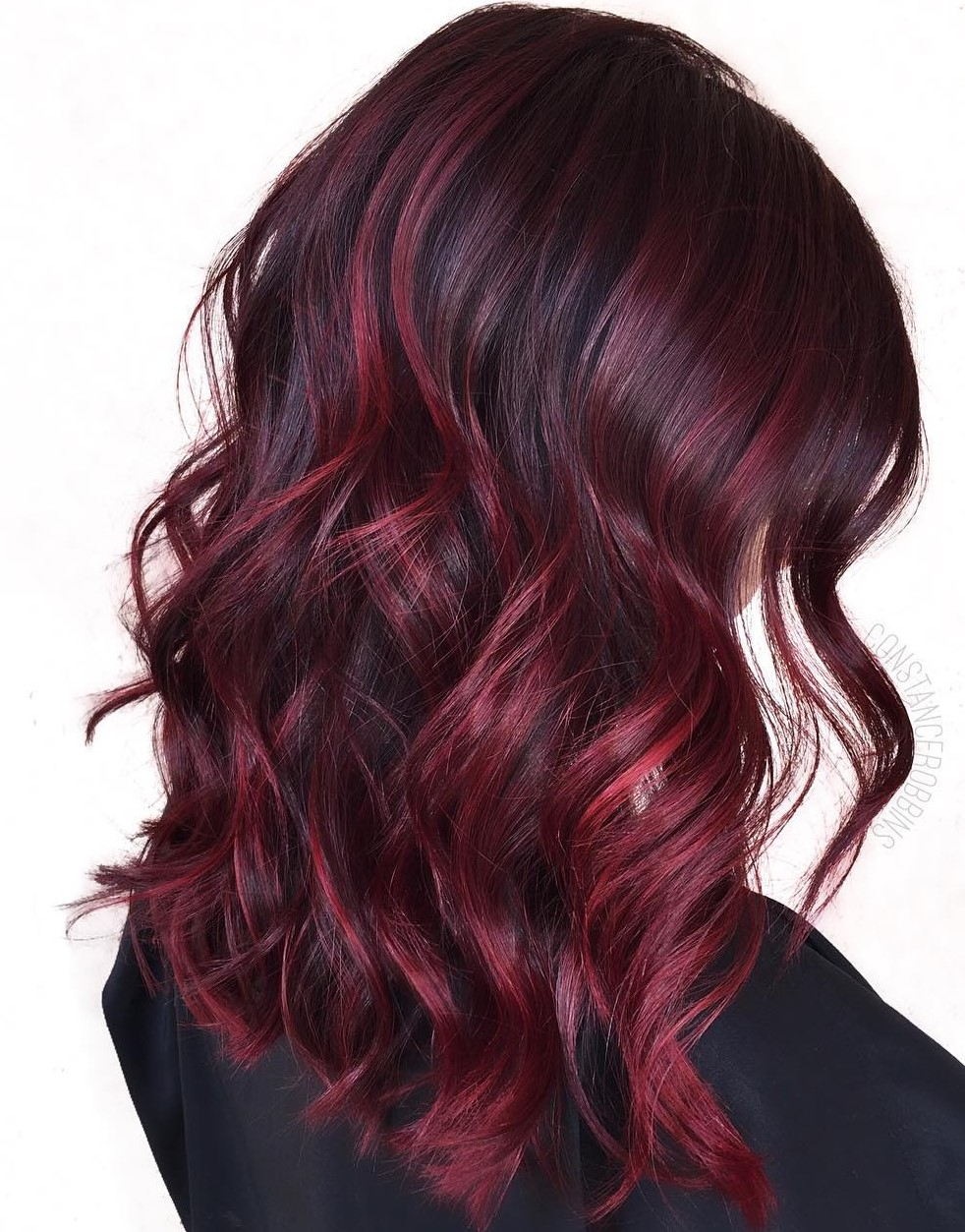 Burgundy Red Balayage for Black Hair