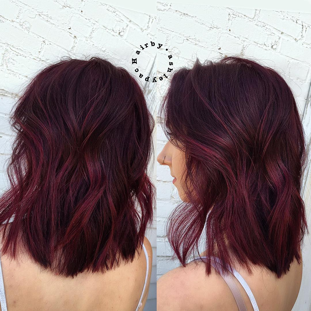 Messy Burgundy Bob with Waves