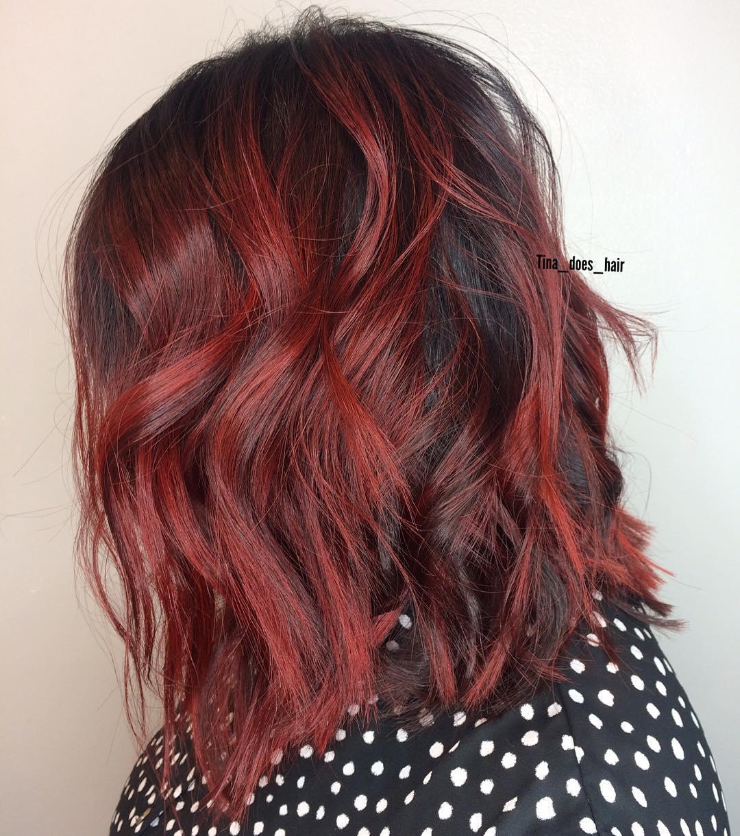 Burgundy Hair Red Carmine Balayage