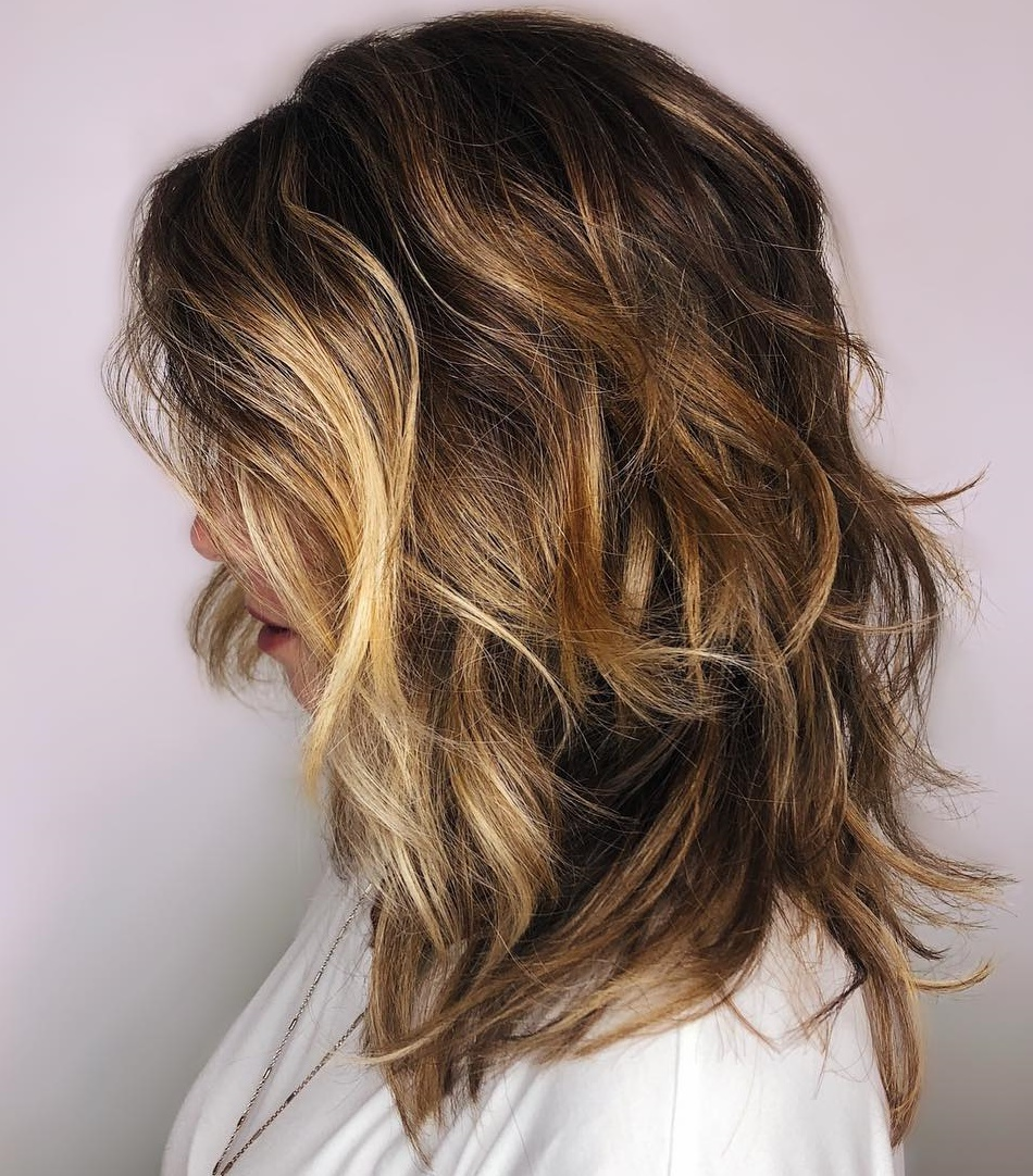 Wavy Brown Shag with Golden Highlights