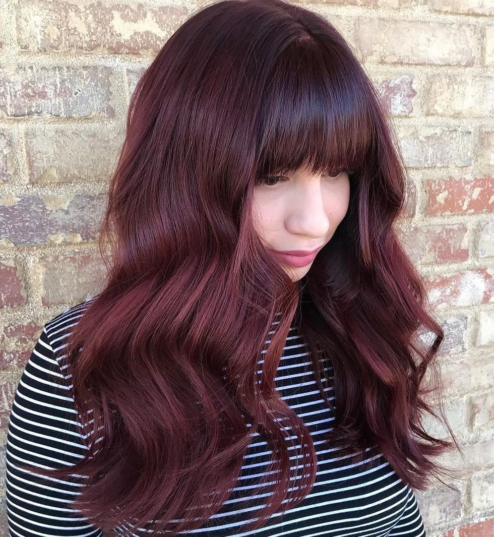 Long Burgundy Hair with Full Bangs