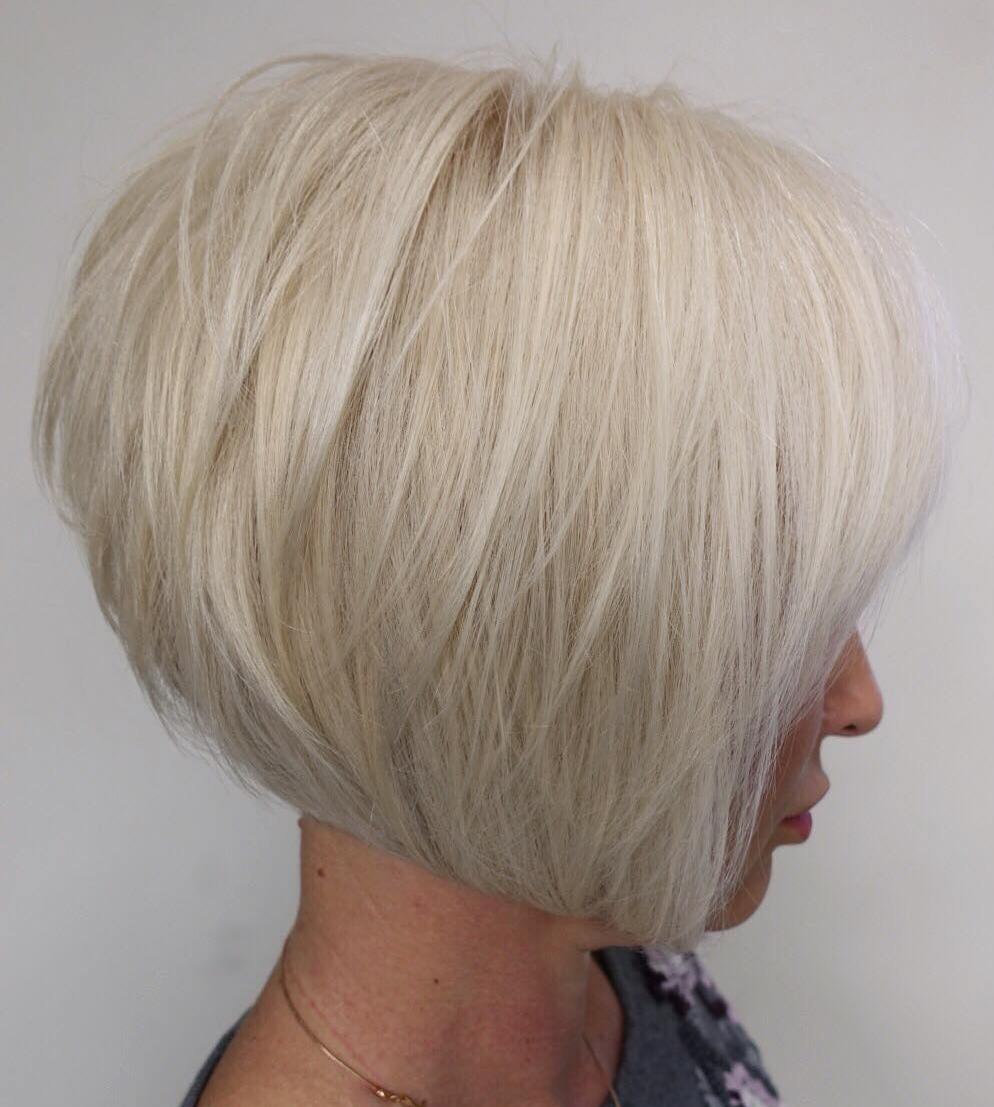 Platinum Bob with Shorter Layers in the Back