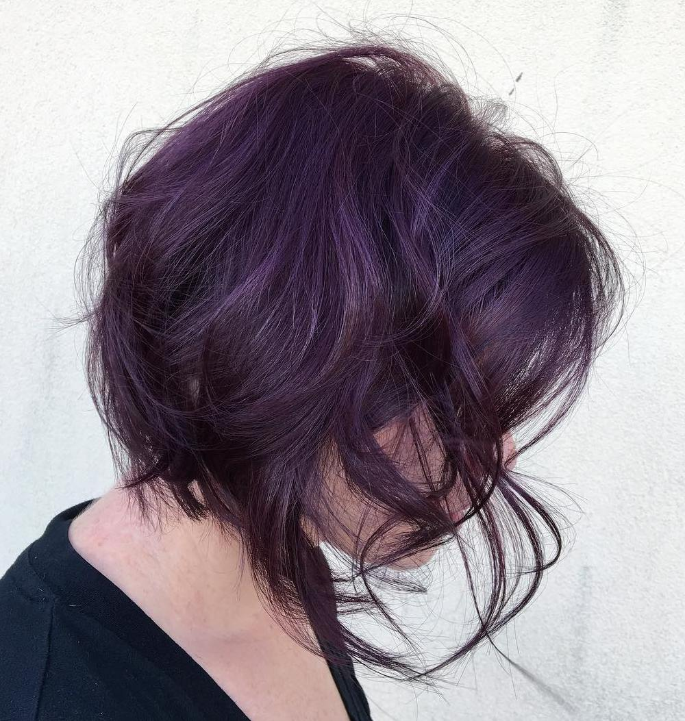 Burgundy Purple Bob with Messy Waves