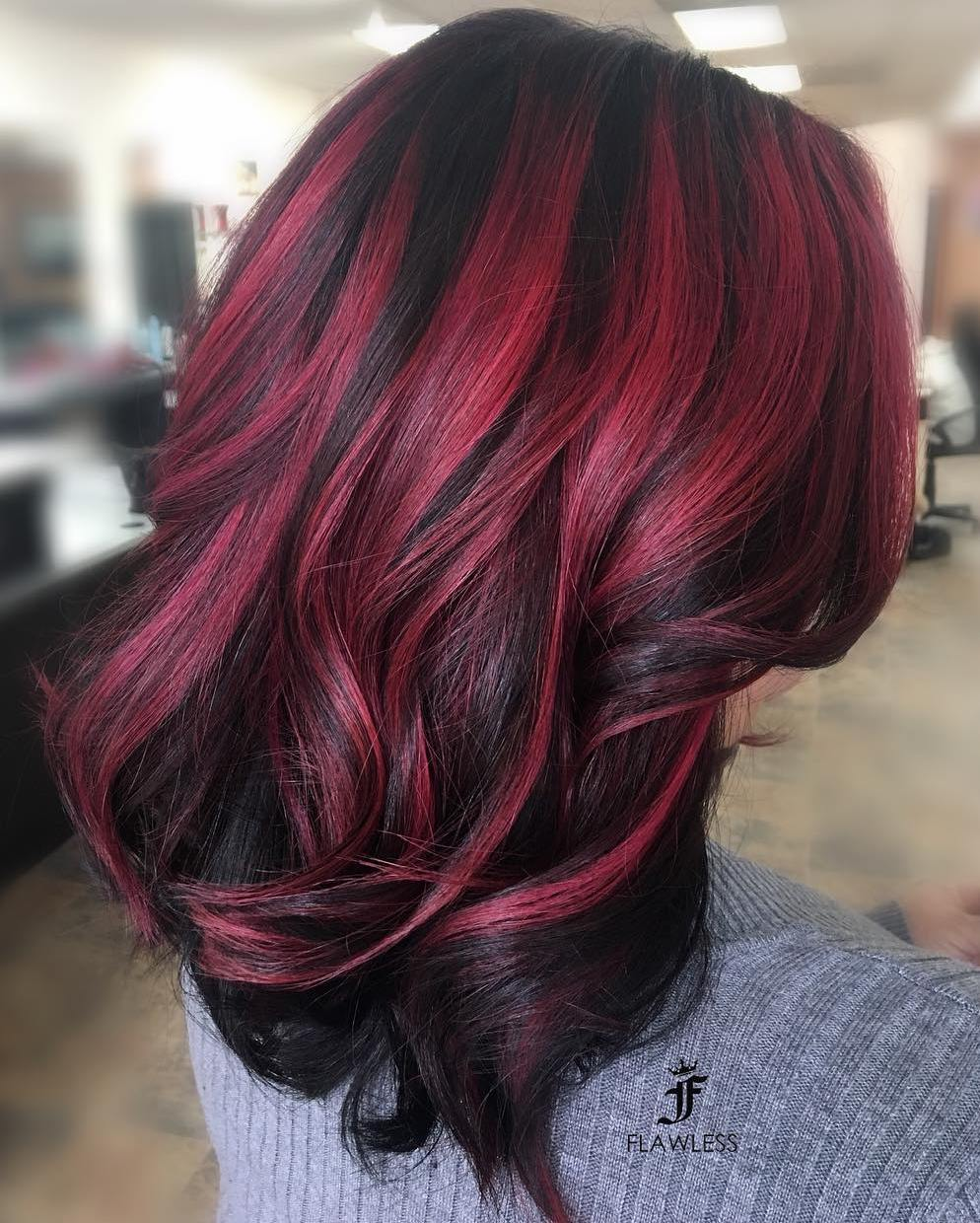 Thick Black Hair with Burgundy Highlights