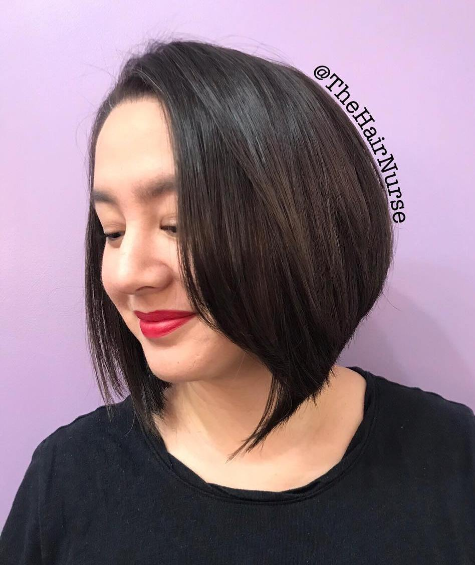 Brown Angled Bob for a Round Face