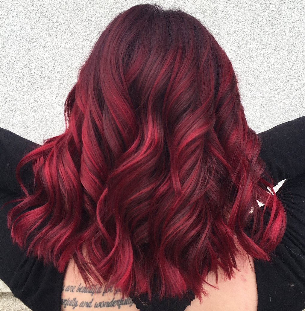 Bright Burgundy Balayage for Thick Hair