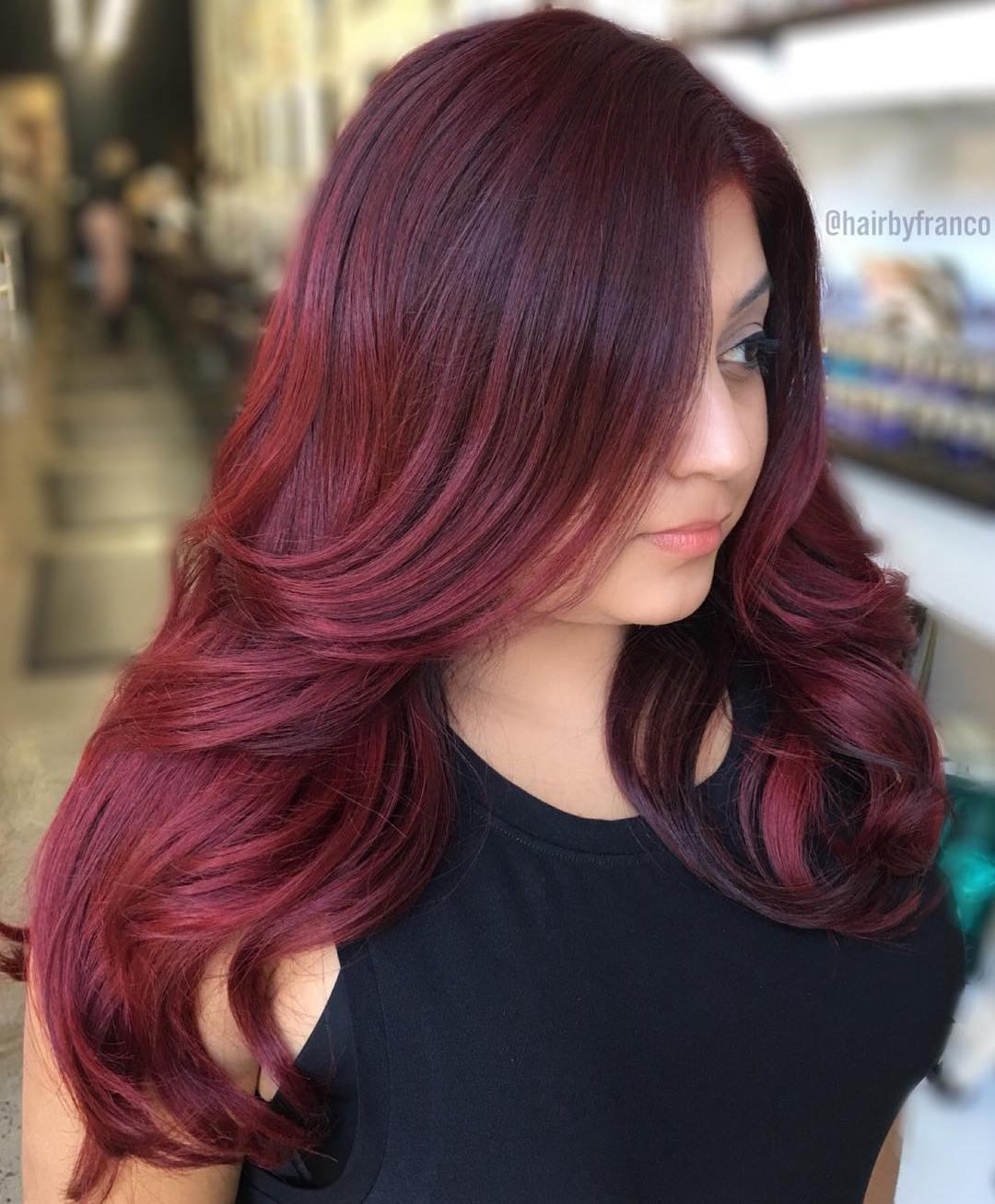 Long Deep Burgundy Hair