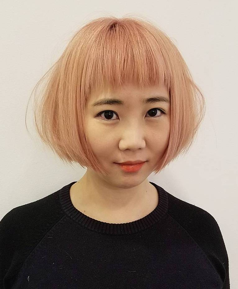 Peachy Blonde Bob with Razored Bangs