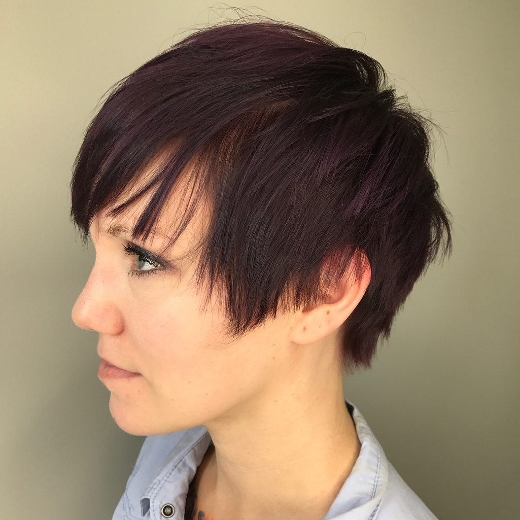 Long Layered Dark Burgundy Pixie