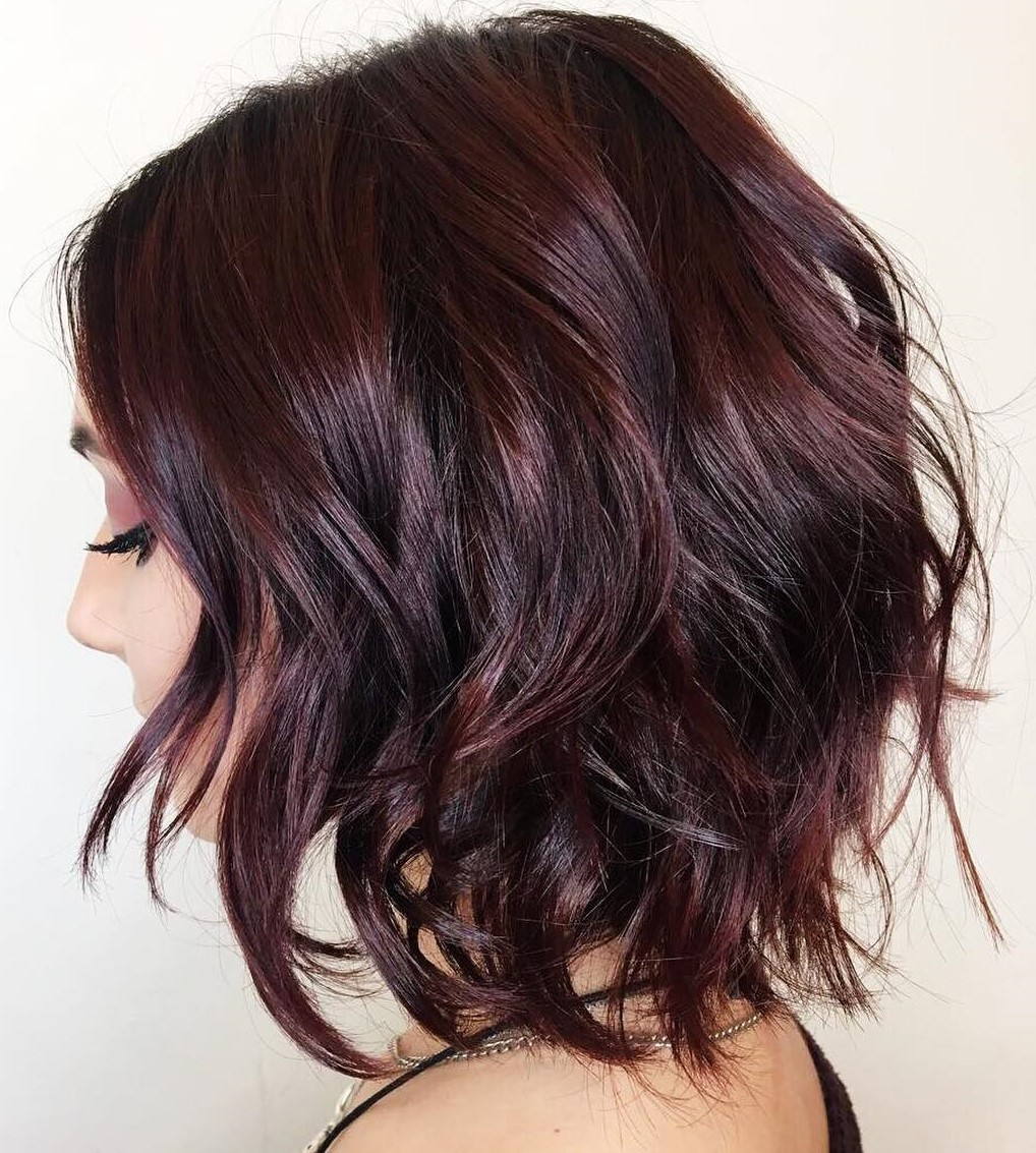 Beautiful Shaggy Brown and Burgundy Bob