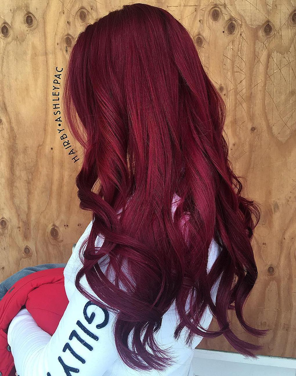 Scarlet Burgundy Balayage for Long Hair