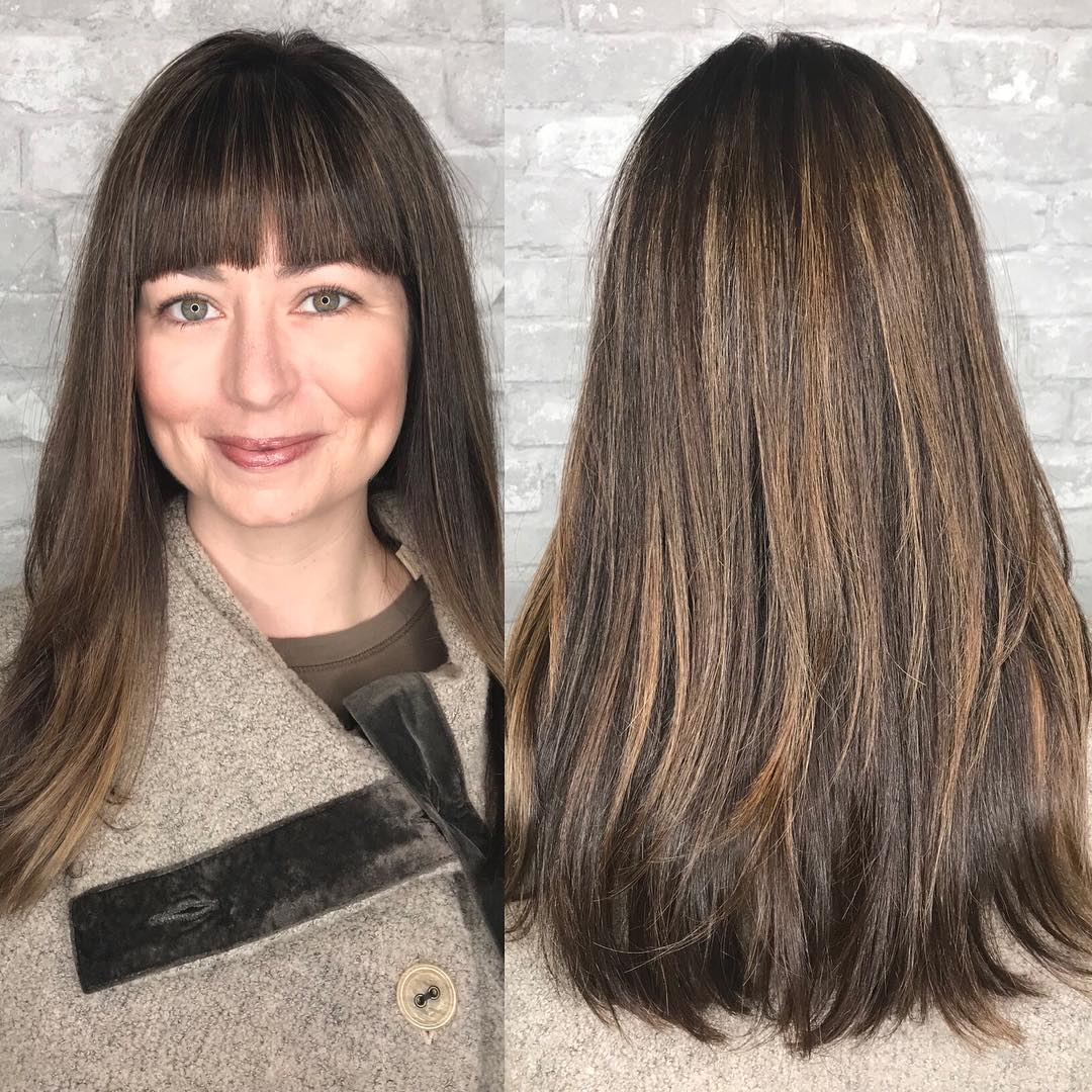 Long Haircut with Bangs for Thick Hair