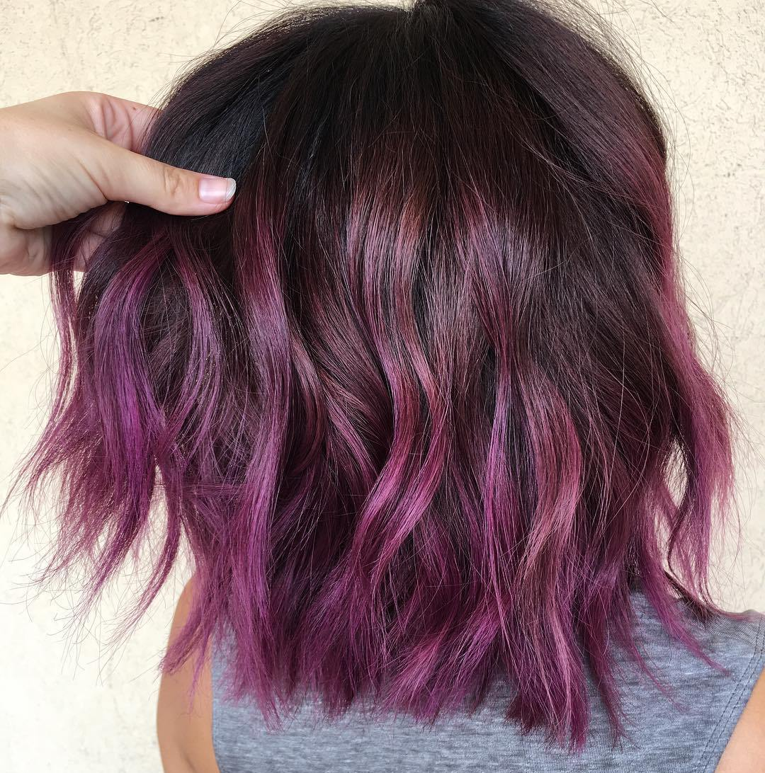 Choppy Brown Bob with Purple Ombre