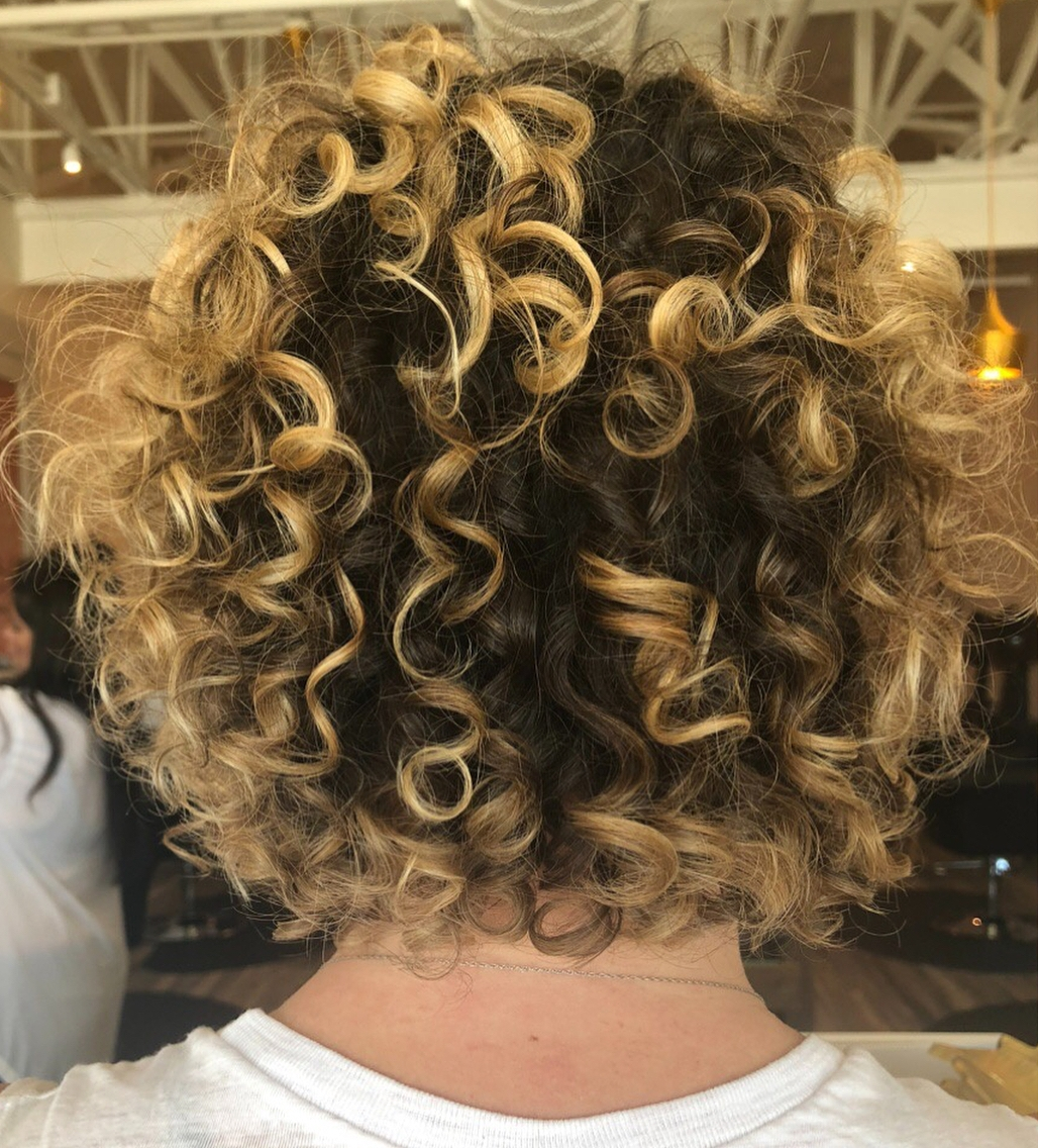 Curly Bob with Dark Roots and Blonde Ends