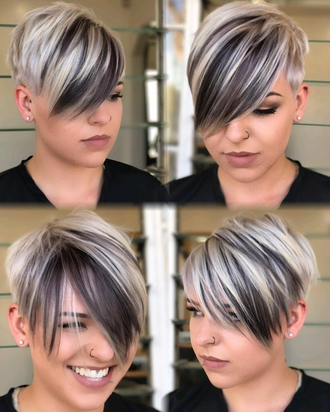 Pixie with Long Bangs for a Round Face