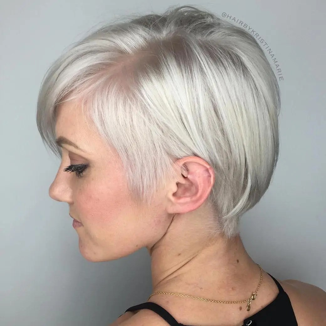 Long Shiny Silver Pixie for Fine Hair
