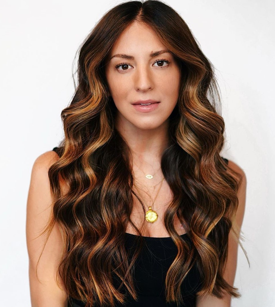 Caramel Highlights for Long Dark Hair