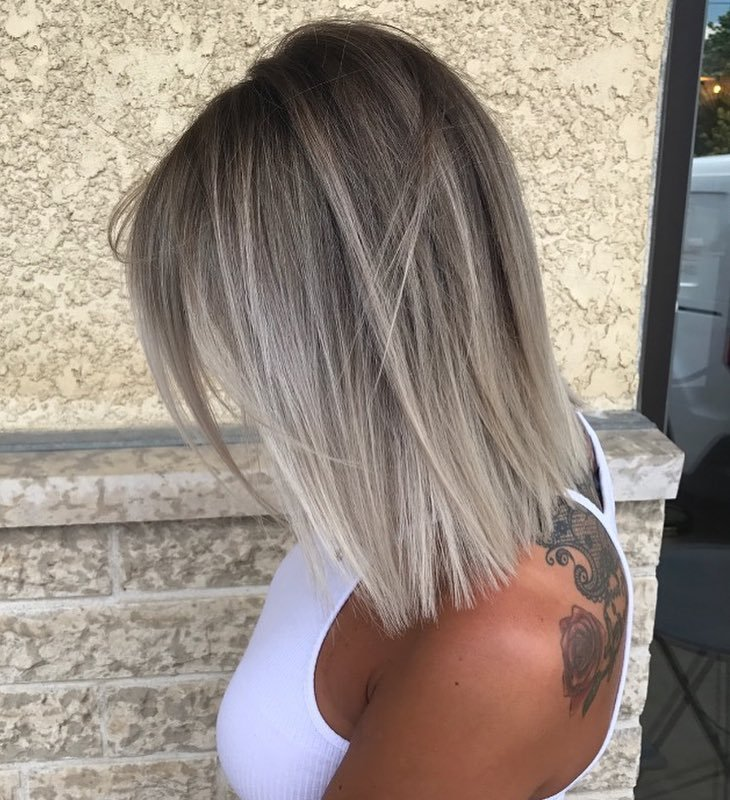 Straight Ash Blonde Lob