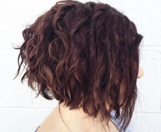 Angled Burgundy Bob with Curls