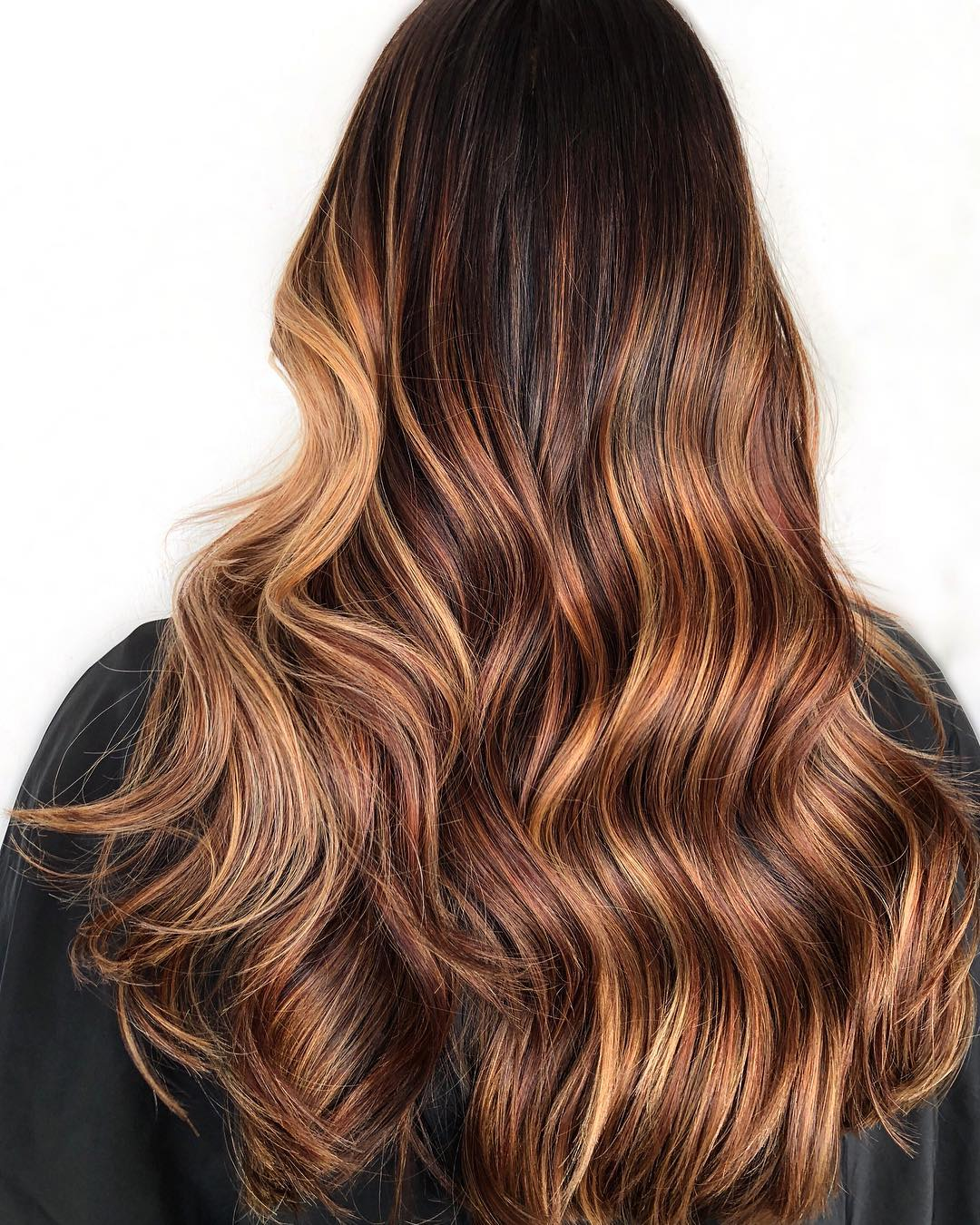 Dark Hair with Effortless caramel Highlights