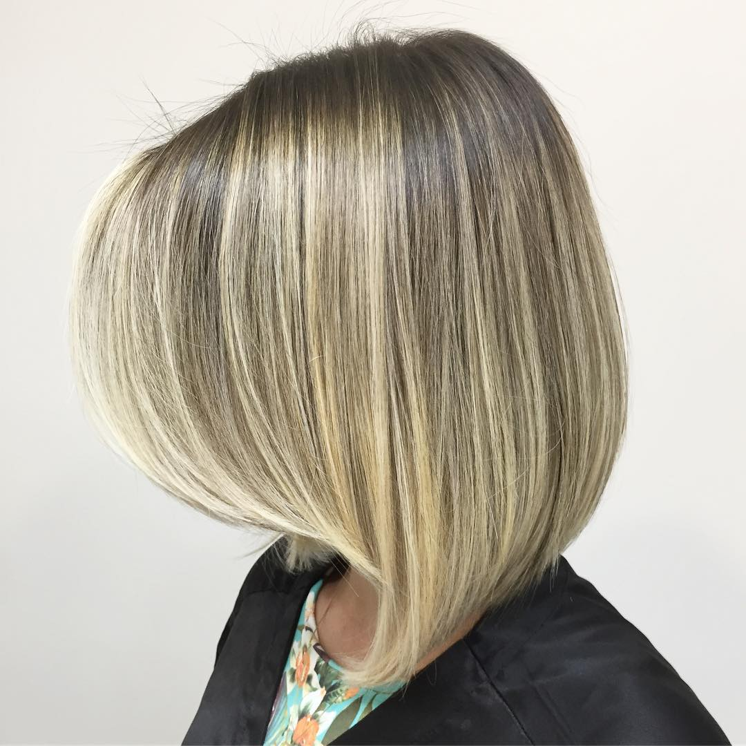 Angled Bob with Blonde Highlights
