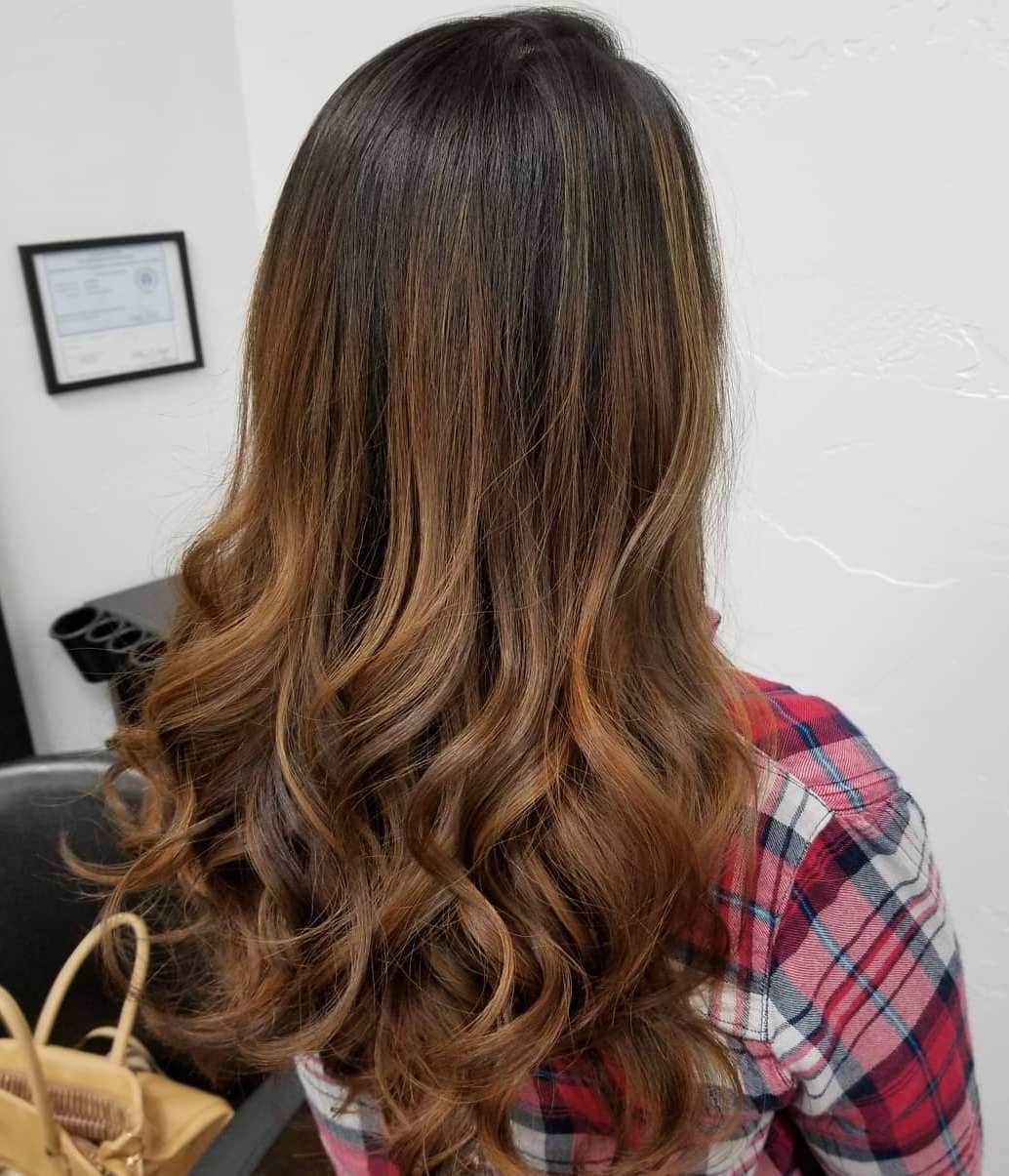 Long Hair with Caramel Balayage