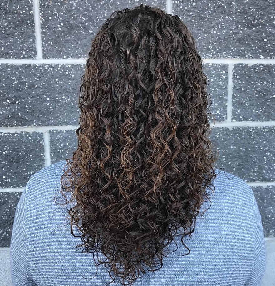 Long V Cut with Curl Perms