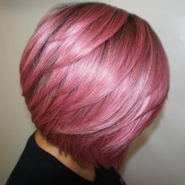Pastel Pink Bob with Shorter Layers