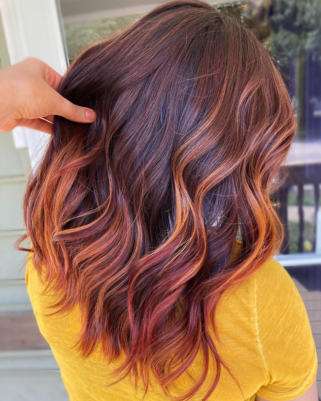 Burgundy Red and Caramel Balayage Highlights