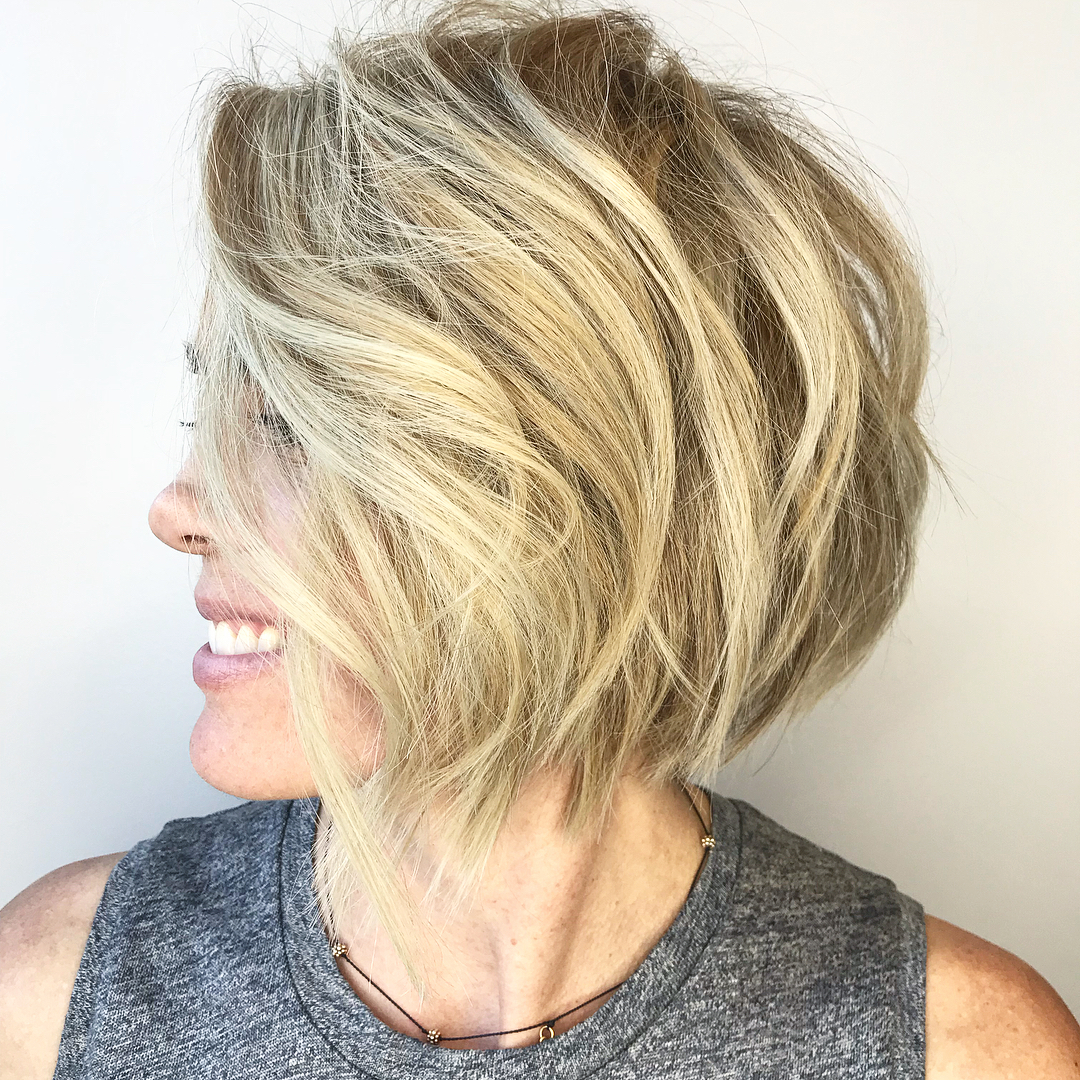 Side-Parted Choppy Blonde Bob