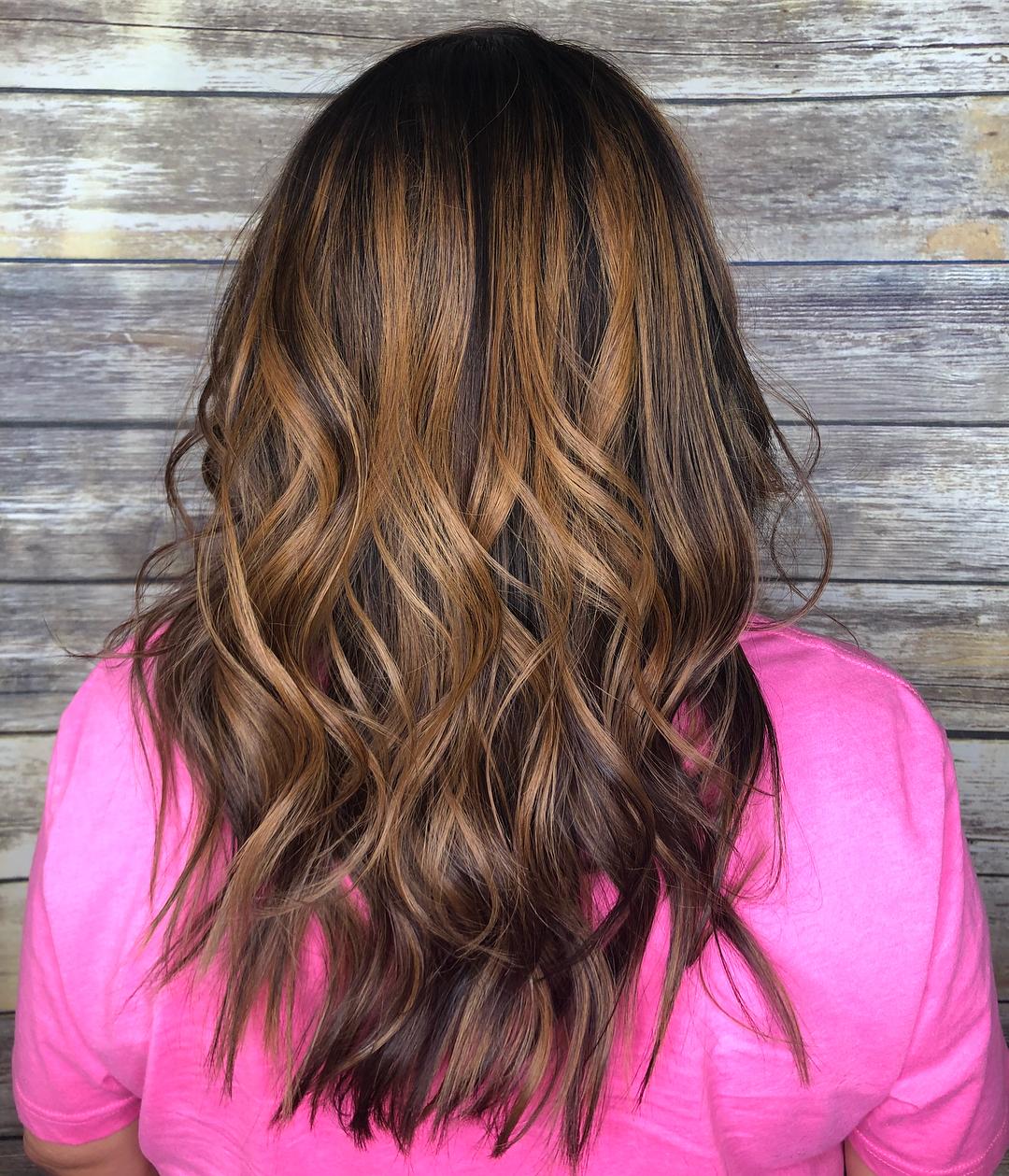 Chocolate and Caramel Balayage Curls