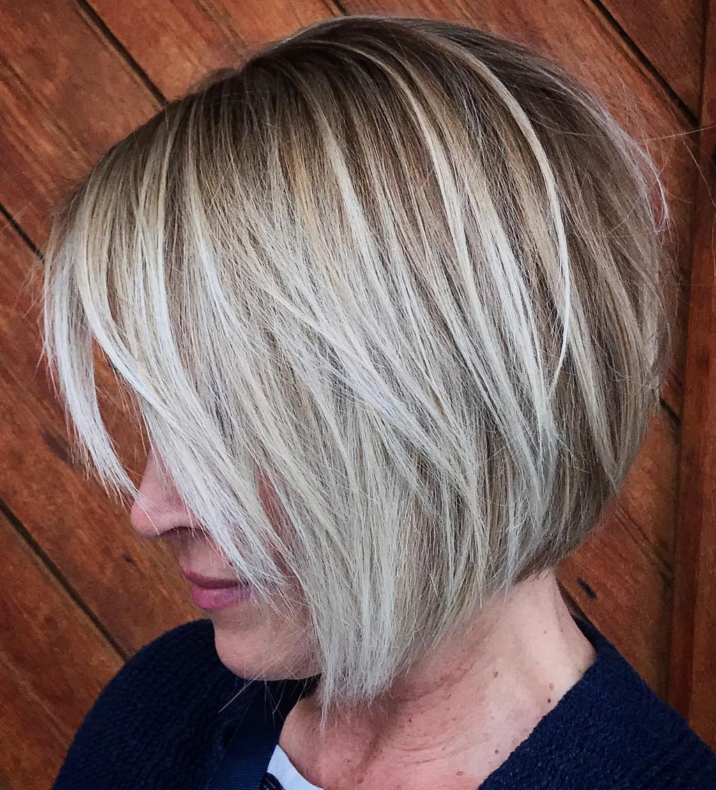 Layered Bob with Bangs and White Highlights