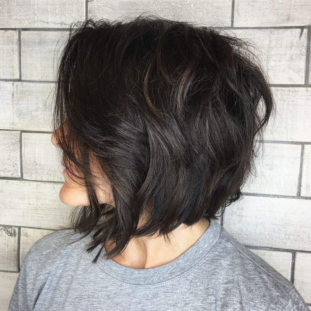 Textured Brunette Bob for Thick Hair