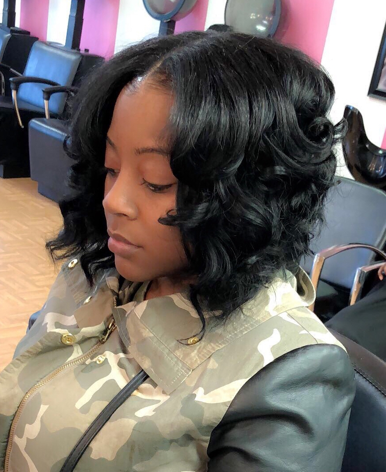 Medium Curls with a Middle Part