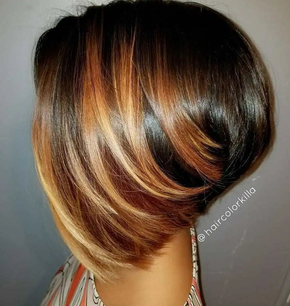 Inverted Bob Cut with Highlights