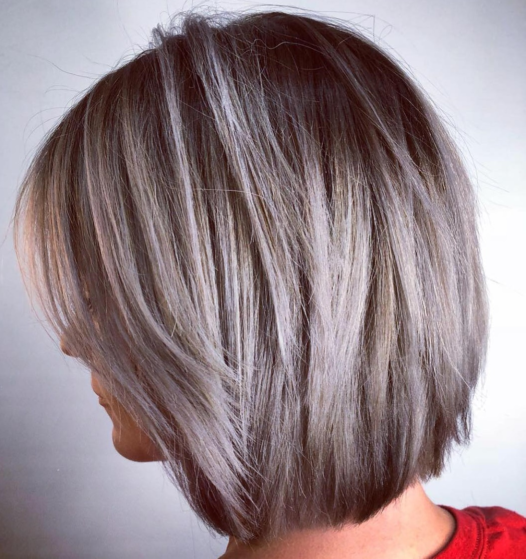 Ash Brown Bob with gray Highlights